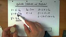 oberfl 228 che und volumen vom zylinder berechnen