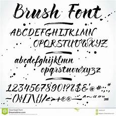 brush vector alphabet with numbers and punctuation stock