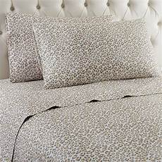 leopard damask printed micro flannel sheet sets