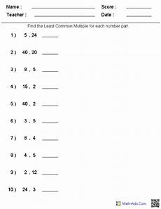 greatest common factor least common multiple worksheet factors worksheets printable factors and multiples worksheets