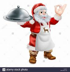 cartoon santa claus cooking christmas dinner food with