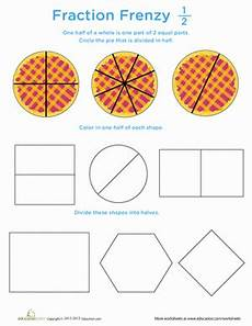 fraction frenzy one half worksheet education com