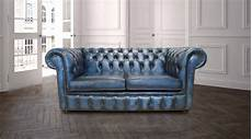 buy blue leather chesterfield settee designersofas4u