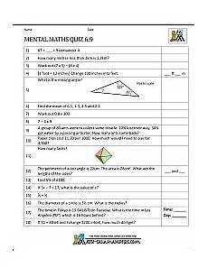 mental maths tests year 6 worksheets