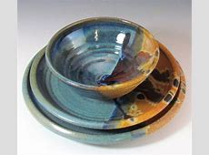 Stoneware Blue and Brown Dinnerware Set handmade for by