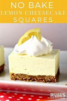 renees kitchen adventures no bake lemon cheesecake squares by renee s kitchen