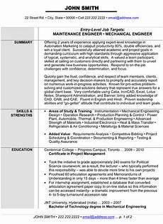 maintenance or mechanical engineer resume template