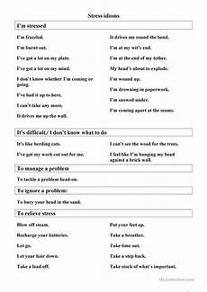 stress management idioms worksheet free esl printable