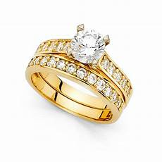 14k yellow or white gold solitaire cz engagement ring