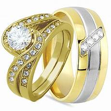 3 pcs his and hers 925 sterling silver gold wedding bridal matching ring cz ebay