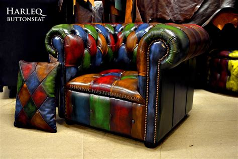 Poltrona Chesterfield Arlecchino Pelle Vintage Patchwork