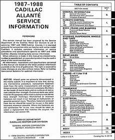 Original 1987 1988 Cadillac Allante Shop Manual 87 88 Oem
