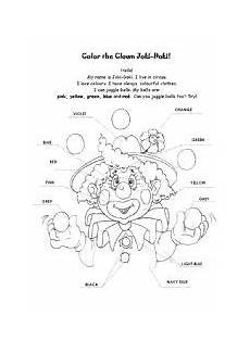 english worksheet colour the clown color by number for