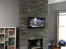 tv wand schiefer tv installation fireplace on slate tile