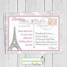 création invitation anniversaire 91929 printable postcard invitation pink eiffel tower tea baby shower or