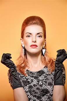 fashion beauty portrait woman in gloves vintage stock