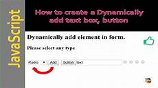 dynamically add textbox radio button in html using javascript youtube