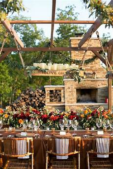 picture of a chic rustic fall reception table with a box