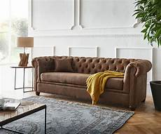 Couch Chesterfield Braun 200x88 Cm Vintage Optik