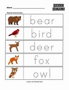 animals worksheets for nursery 13977 2 forest animals trace the words worksheets preschool kindergarten pdf digital forest