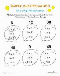 multiplication easy worksheets simple multiplication lemons worksheet education com