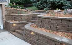 garden landscaping decoration ideas with wonderful retaining wall design options brick stones