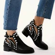 womens black flat chelsea ankle boots studded embellished