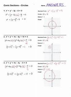graphing conic sections worksheet conic sections circles worksheet standard form graph by lisa tarman