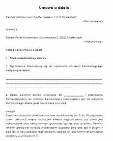 muster f 252 r werkvertrag polnisch zum