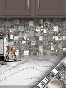 Glass Mosaic Kitchen Backsplash Glass Metal Gray Copper Mosaic Backsplash Tile