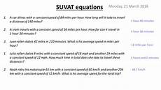suvat equations kinematics by missblilley teaching