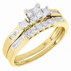 10k yellow gold diamond engagement ring princess wedding band bridal ebay