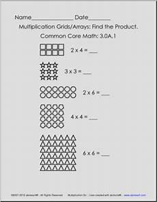 multiplication using grids and arrays grade 3 common core math multiplication 3 oa 1