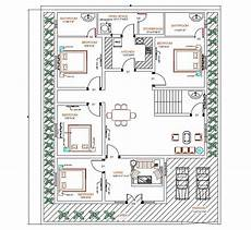 4 bdrm house plans 4 bedroom house autocad ground floor plan design cadbull