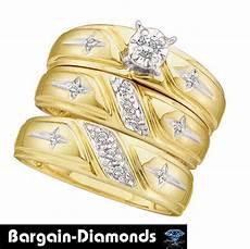 diamond cross 3 ring 14k gold bridal engagement wedding