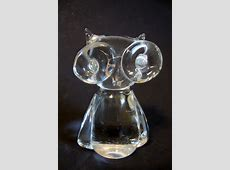 Clear Glass Paperweight *Napcoware Studio Art* Owl