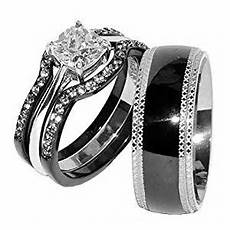 com lanyjewelry his hers 4 pcs black ip stainless steel cz wedding ring mens