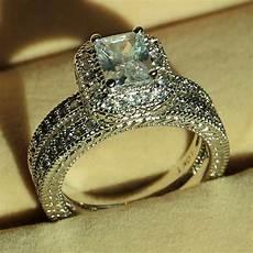 vintage jewelry diamonique cz white gold filled wedding band ring size 5 11 ebay
