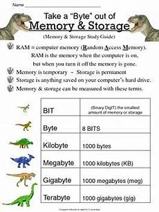 computer memory storage study guide worksheet by jen