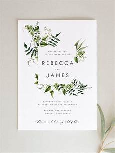 greenery wedding invitation template fern leaves printable wedding invitation diy templett pdf