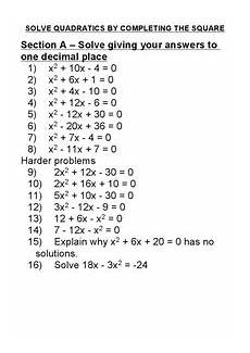 solve quadratics by completing the square worksheet for