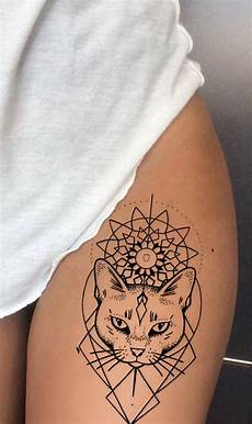 Tribal Linework Outline Cat Thigh Ideas