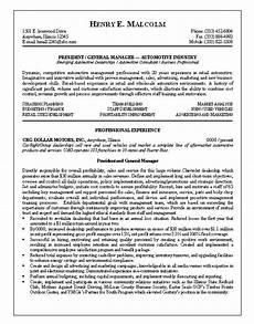 resume sle 9 automotive general manager resume