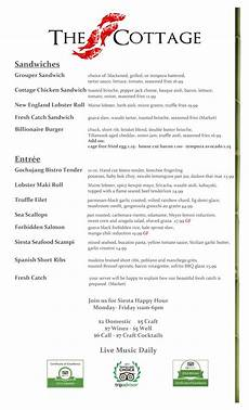 Cottage Dinner Menu by Menu The Cottage Siesta Key