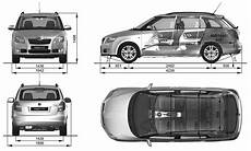 2008 Skoda Fabia Combi Wagon Blueprints Free Outlines