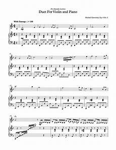 violin and piano duets free sheet music free sheet music duet for violin and piano op 4 no 2 michael kravchuk