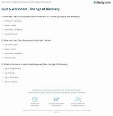 quiz worksheet the age of discovery study com
