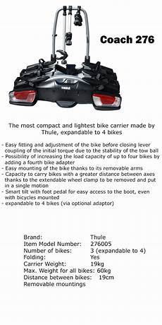 Thule Coach 276 3 4 Bike Car Rack Bicycle Carrier Tow