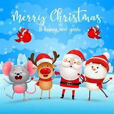 merry christmas greeting card with santa claus reindeer snowman and mouse vector free download