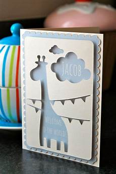 Karten Selbst Basteln - personalised new baby card with giraffe by